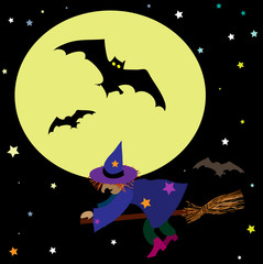 Halloween vector background with moon, witch and bats.