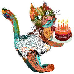 Cute cartoon cat with cake on a white background.