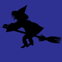 Silhouette of witch on a broomstick.