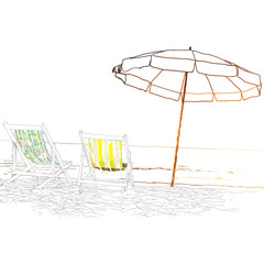 Pair of beach loungers on the deserted coast sea.