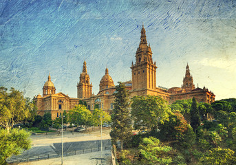 Placa De Espanya, the National Museum in Barcelona. Spain.