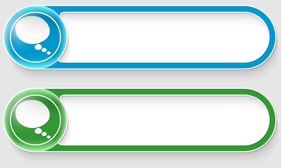 blue and green vector abstract buttons with speech bubble