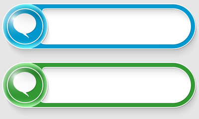 blue and green vector abstract buttons with speech bubbles