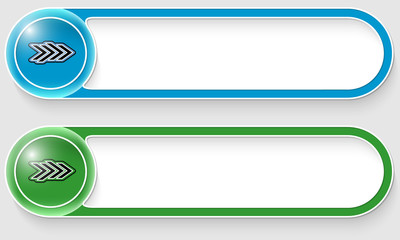 blue and green vector abstract buttons with arrows