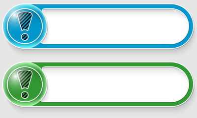 blue and green vector abstract buttons with exclamation mark