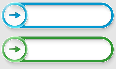 blue and green vector abstract buttons with arrow