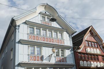 Historische Häuser in der Altstadt von Appenzell, Schweiz
