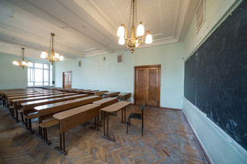 Classroom with chandeliers