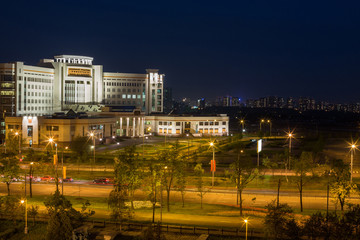 Evening view of new building of Moscow State University