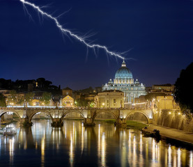 Wall Mural - Papspalast Rom mit Blitz