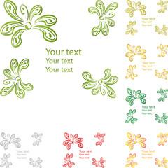 Grußkarte, Blumen, Blüten, Ranke, grün