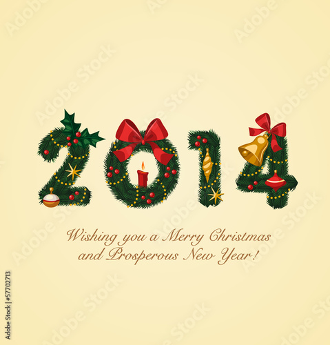 Happy new year 2014 christmas greeting card stock image and happy new year 2014 christmas greeting card m4hsunfo