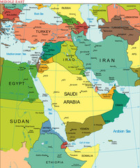 World Earth Middle East Continent Country Map