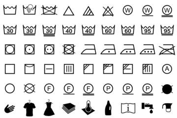 Wäschezeichen, Pflegesymbole Wäsche waschen, Reinigen