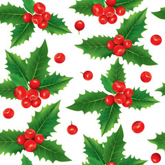Seamless pattern of holly berries