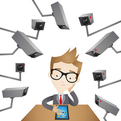 Businessman, surveillance cameras, invasion of privacy
