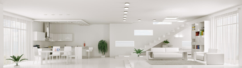 Fototapeta Interior of white apartment panorama 3d render obraz