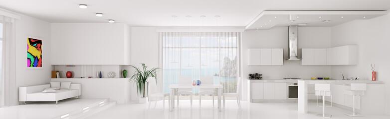 Interior of white apartment panorama
