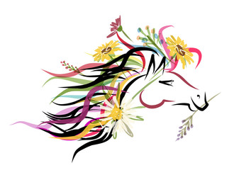 Horse head sketch with floral decoration for your design. Symbol