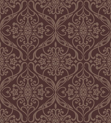 Seamless damask vector pattern.