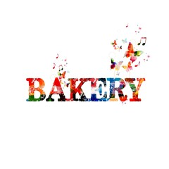 Colorful vector bakery word background with butterflies