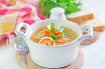 fresh soup with chicken and shrimps