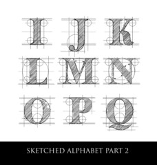 Vintage hand drawn alphabet