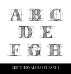Vintage hand drawn alphabet