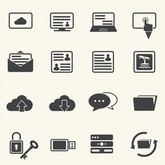 Internet and Communication icons with texture background