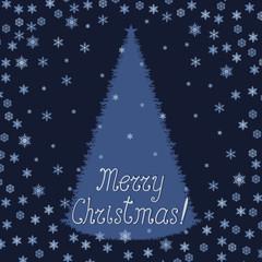 Christmas greeting card with Christmas tree and snowflakes