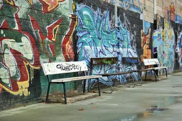 Background stage of urban graffiti vandalism