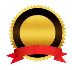 gold seal medal with red ribbon isolated