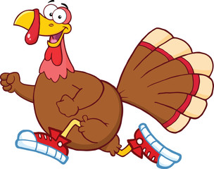 Happy Turkey Bird Cartoon Character Jogging