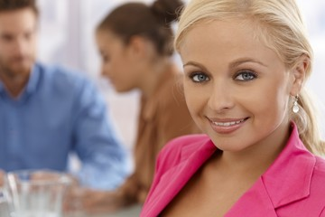 Closeup portrait of attractive businesswoman