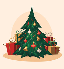 Traditional Christmas tree. Cartoon vector illustration.