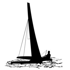Silhouettes of sailing catamaran