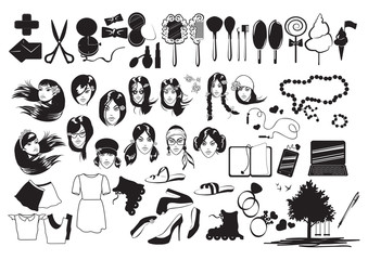 Set Of Various Icons Isolated On White Background