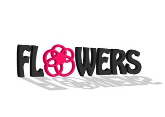 3D Flower Lettering - Vector