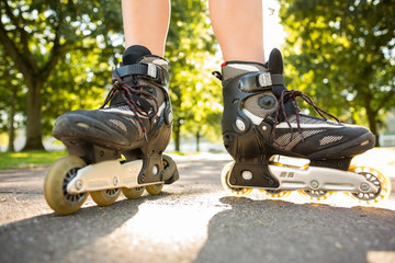 Close up of woman wearing inline skates