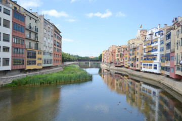 Houses over Onyar River in Girona.