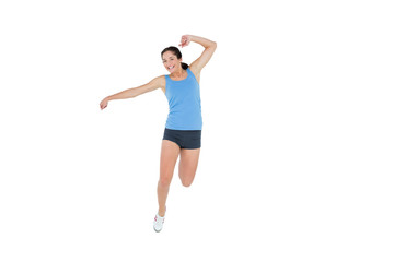 Sctive sporty woman rejocing over white background