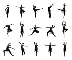 Collection of ballet poses. Black and white silhouettes
