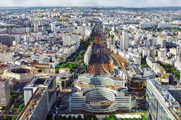 Fototapete - Gare Montparnasse(Railway Station)view from Tower Montparnasse.P