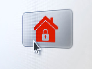 Safety concept: Home on digital button background