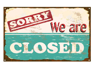 Shop Closed Enamel Sign