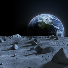Fototapete - Earth seen from the moon.