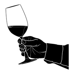 Hand holding glass of wine Silhouette Vector