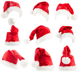 Set of red Santa Claus hats
