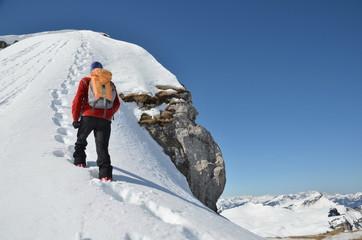 Foto auf Acrylglas Bergsteigen Bergsteiger, Winter, Gipfel