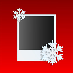 Christmas background.photo on a red background decorated with wh